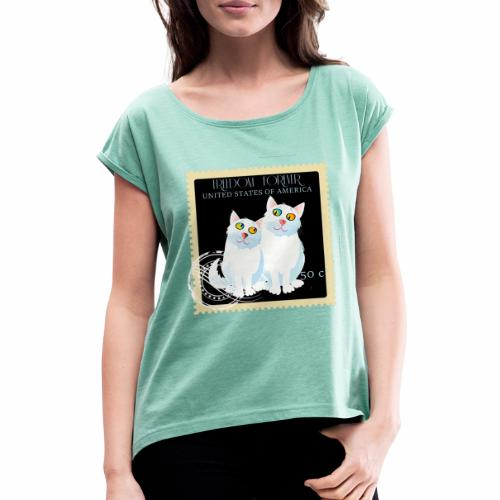 timbre usa - T-shirt à manches retroussées Femme