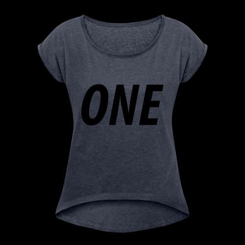 WEAREONE x LETTERS - Vrouwen T-shirt met opgerolde mouwen