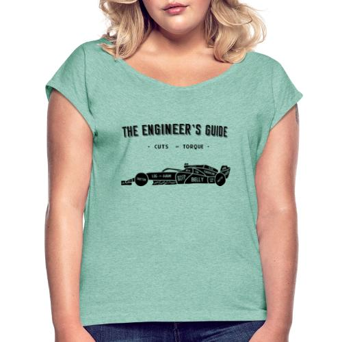 Racing car Cuts of Meat (Black Print) - Women's T-Shirt with rolled up sleeves