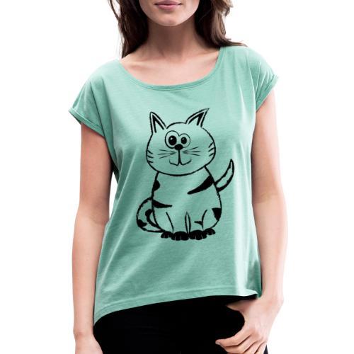 Diego the cat standalone 3 - Frauen T-Shirt mit gerollten Ärmeln