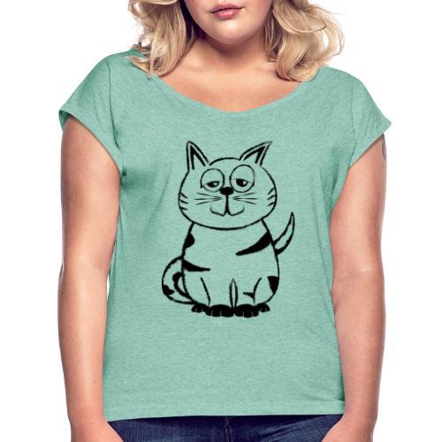 Diego the cat standalone - Frauen T-Shirt mit gerollten Ärmeln