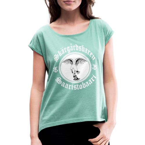 White Logo - Naisten T-paita, jossa rullatut hihat