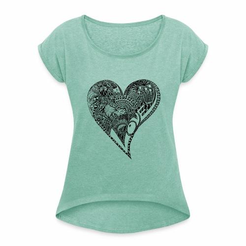 Heart black - Frauen T-Shirt mit gerollten Ärmeln