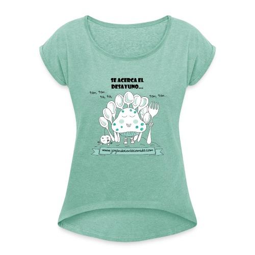 madalenas se acerca el desayuno gif - Camiseta con manga enrollada mujer