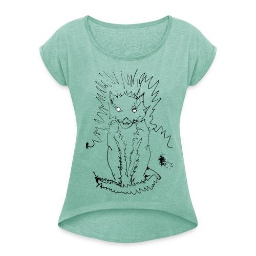 der graue Katzer - Frauen T-Shirt mit gerollten Ärmeln