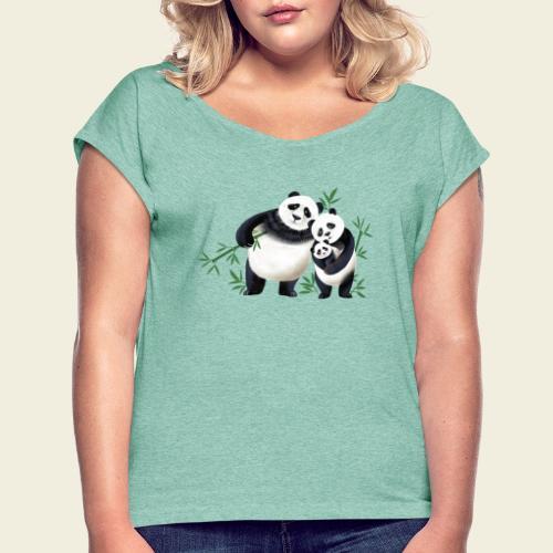 Pandafamilie Baby - Frauen T-Shirt mit gerollten Ärmeln