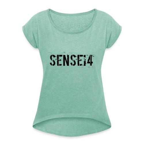 paint4 - Naisten T-paita, jossa rullatut hihat