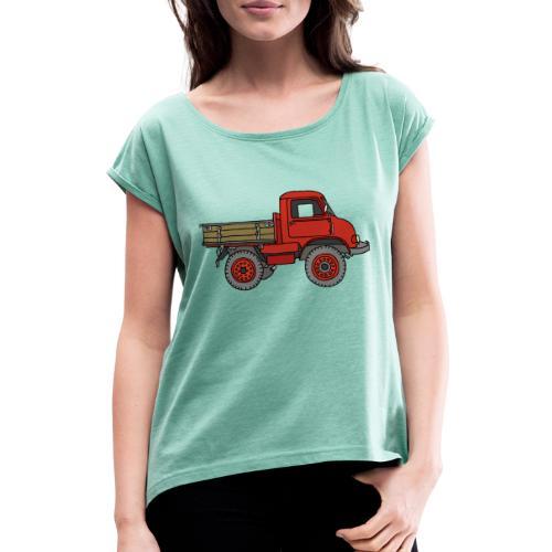 Roter Lastwagen, LKW, Laster - Frauen T-Shirt mit gerollten Ärmeln