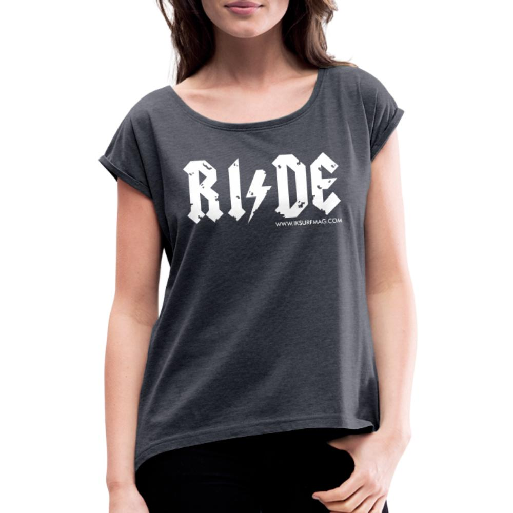 RIDE - Women's T-Shirt with rolled up sleeves - navy heather