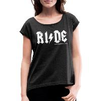 RIDE - Women's T-Shirt with rolled up sleeves - heather black