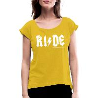 RIDE - Women's T-Shirt with rolled up sleeves - mustard yellow