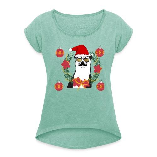 Ours de noël - T-shirt à manches retroussées Femme