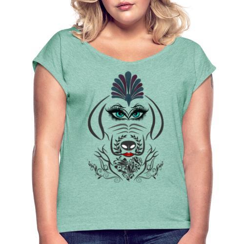Hipster Dog Girl by T-shirt chic et choc - T-shirt à manches retroussées Femme