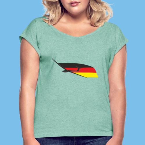deutschlandflagge segelflugzeug Segelflieger - Frauen T-Shirt mit gerollten Ärmeln