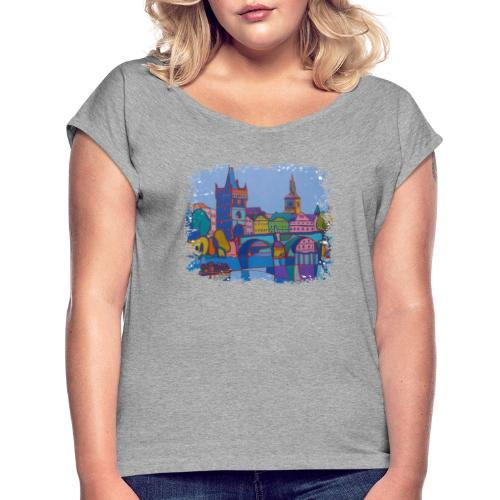 Prag - Frauen T-Shirt mit gerollten Ärmeln