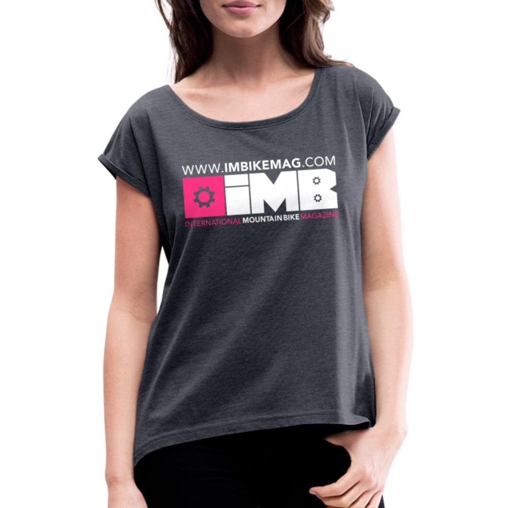 IMB Logo - Women's T-Shirt with rolled up sleeves - navy heather