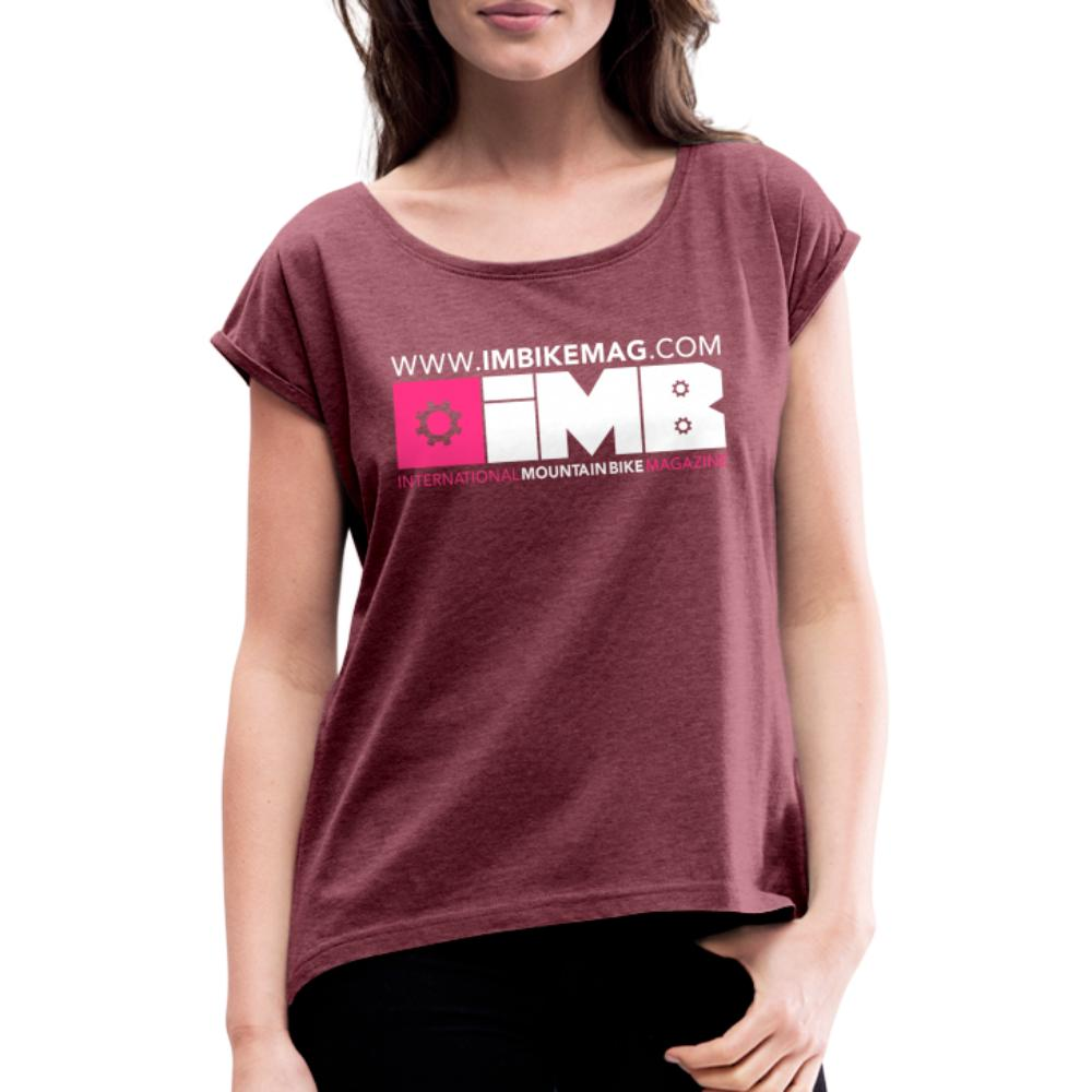 IMB Logo - Women's T-Shirt with rolled up sleeves - heather burgundy