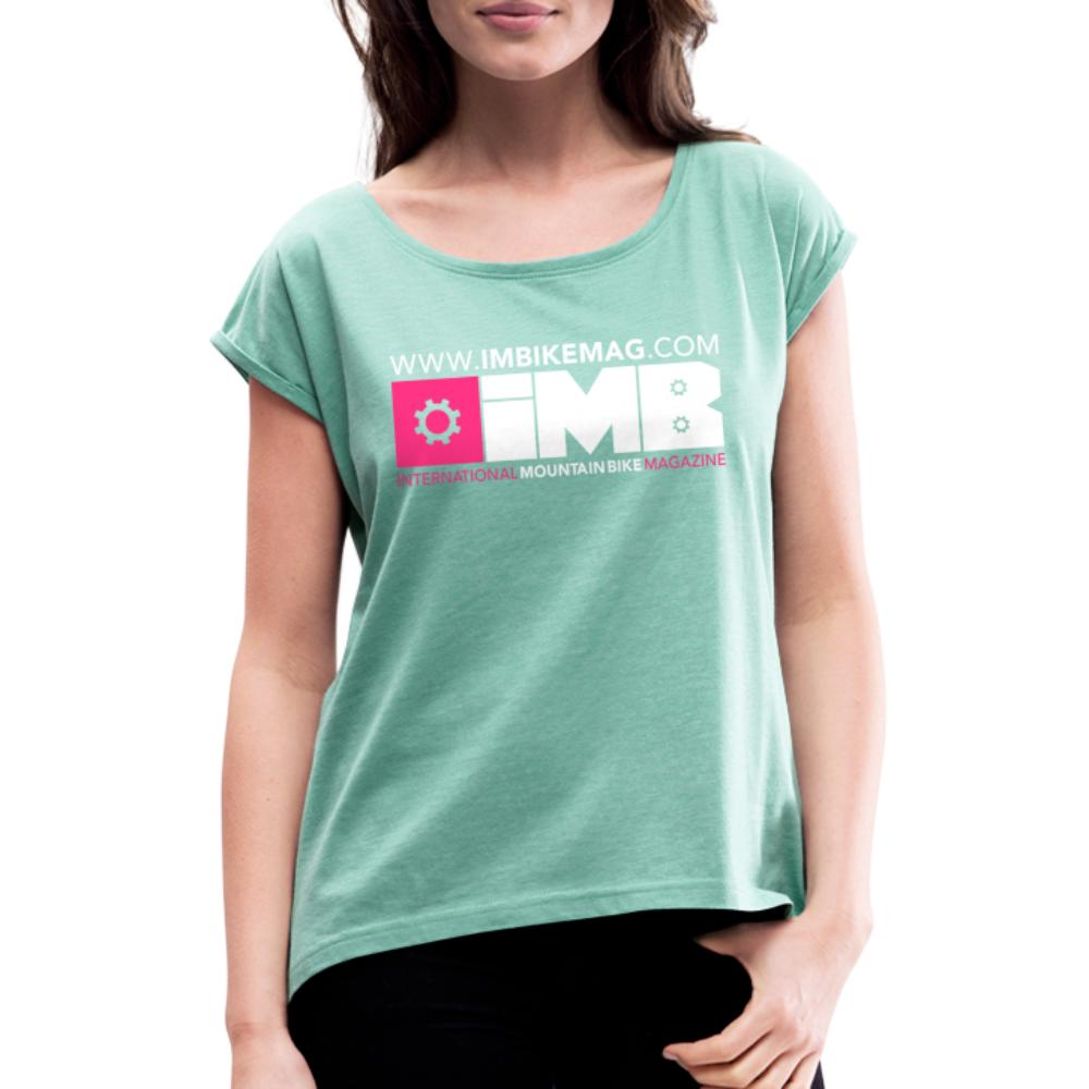 IMB Logo - Women's T-Shirt with rolled up sleeves - heather mint