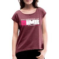 IMB Logo - Women's T-Shirt with rolled up sleeves heather burgundy