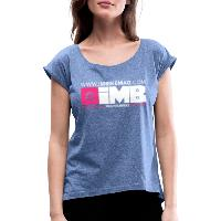 IMB Logo - Women's T-Shirt with rolled up sleeves - heather denim