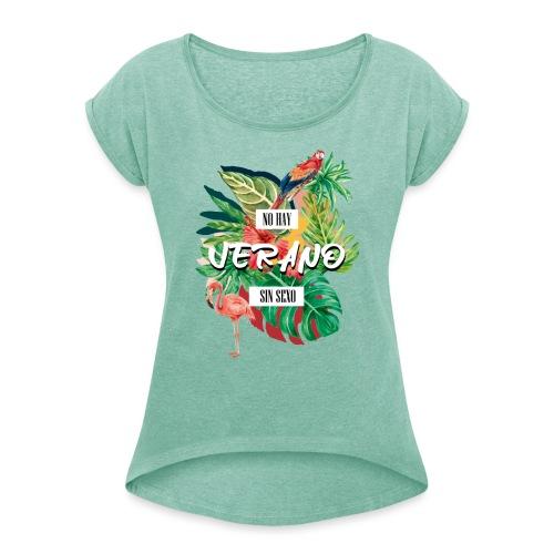 TEMPORADA DE VERANO3 - Camiseta con manga enrollada mujer