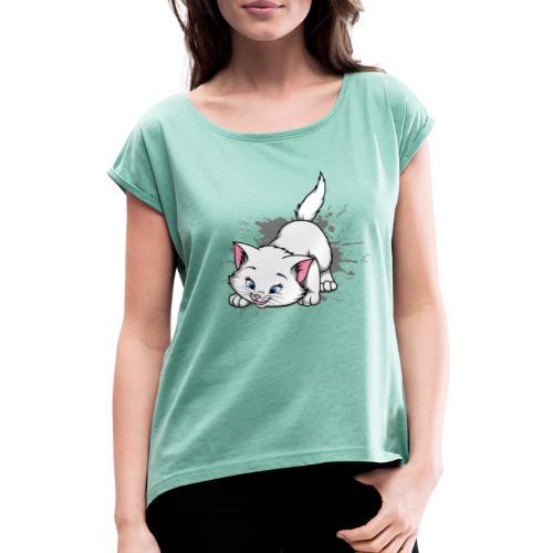 Katze Splash Pfützen Sprung - Frauen T-Shirt mit gerollten Ärmeln