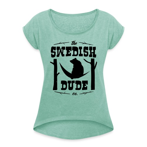 bear - T-shirt med upprullade ärmar dam