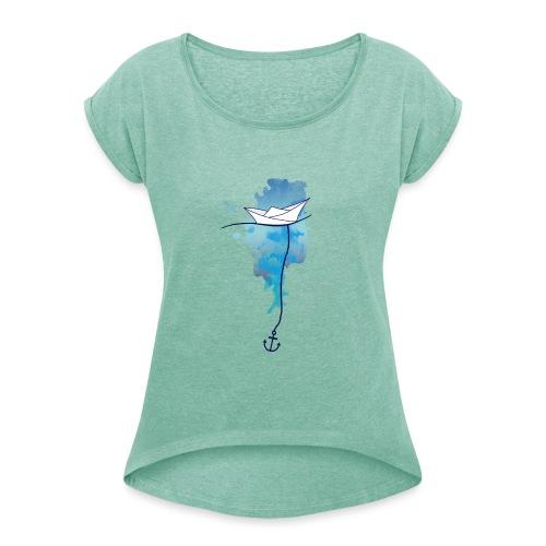 Papierschiff - Frauen T-Shirt mit gerollten Ärmeln