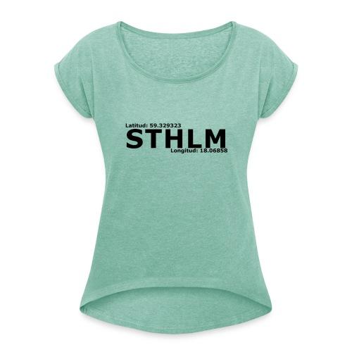 STHLM - T-shirt med upprullade ärmar dam