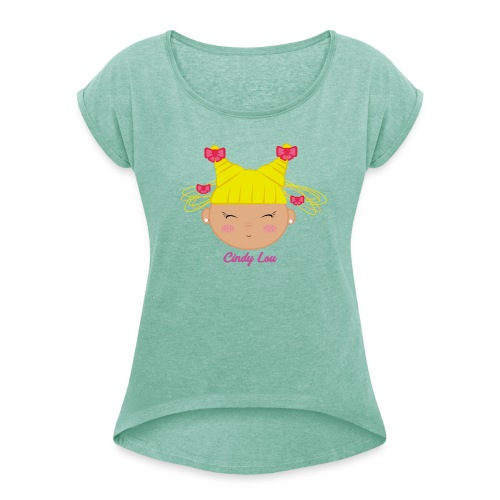 CindyLou - Camiseta con manga enrollada mujer