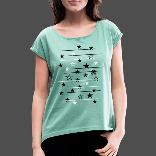 gwiazda - Koszulka damska z lekko podwiniętymi rękawami