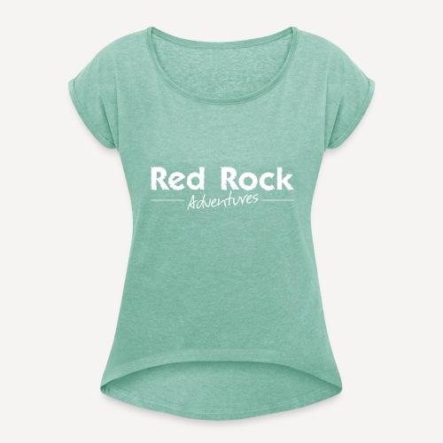 RRA Logo weiss - Frauen T-Shirt mit gerollten Ärmeln