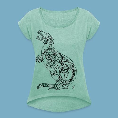 Rex black - Frauen T-Shirt mit gerollten Ärmeln