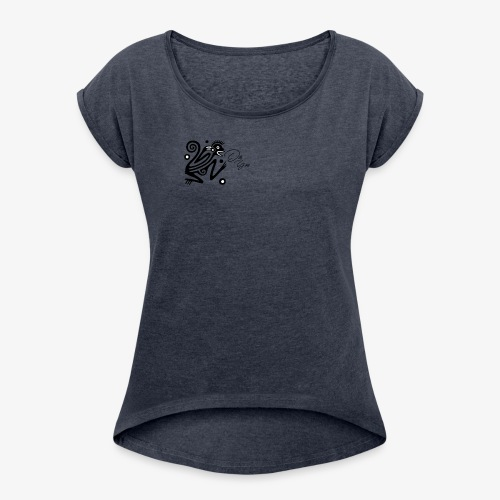 Monsoo - Frauen T-Shirt mit gerollten Ärmeln