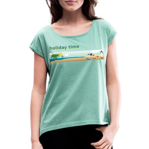 holiday time - Maglietta da donna con risvolti