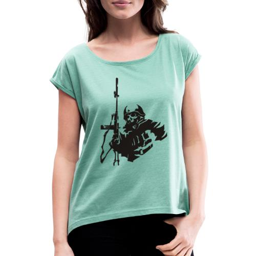 Skull Warrior - Women's T-Shirt with rolled up sleeves