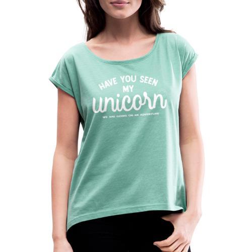 Unicorn dam - T-shirt med upprullade ärmar dam