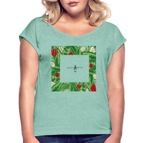 Urban Jungle | Tropical Square - Frauen T-Shirt mit gerollten Ärmeln