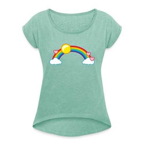 Regenbogen Sonne Herz Rainbow Cloud Heart - Women's T-Shirt with rolled up sleeves