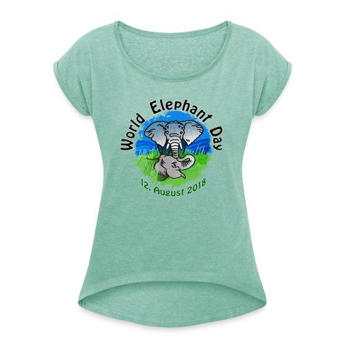World Elephant Day 2018 - Frauen T-Shirt mit gerollten Ärmeln