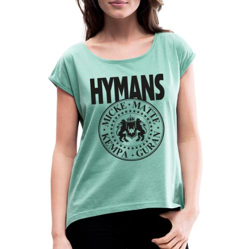 Hymans Merch Svart Tryck - T-shirt med upprullade ärmar dam
