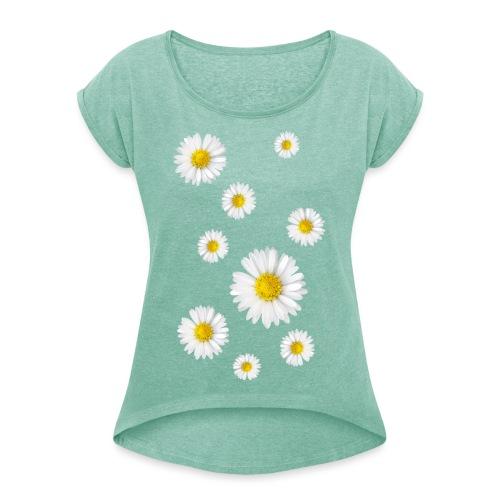 Gänseblumen, Gänseblümchen - Frauen T-Shirt mit gerollten Ärmeln