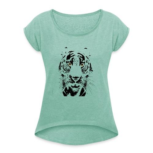 Tigre - Camiseta con manga enrollada mujer
