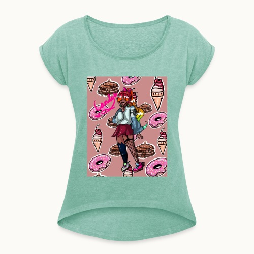 98E7ED55 42AE 4700 B688 D717169167C5 - Frauen T-Shirt mit gerollten Ärmeln