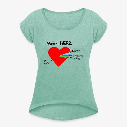 Herz Tortendiagramm 3 - Frauen T-Shirt mit gerollten Ärmeln