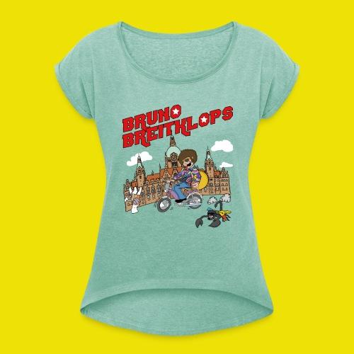 Mofa_30cm_Fertig2-01 - Frauen T-Shirt mit gerollten Ärmeln
