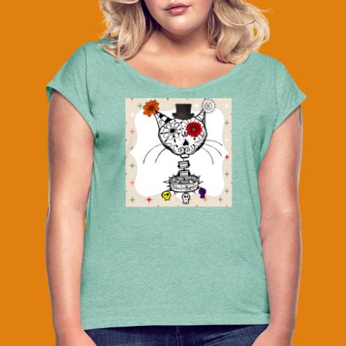 cat color - Women's T-Shirt with rolled up sleeves