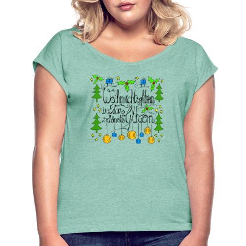 Weihnachtsglitzern - Frauen T-Shirt mit gerollten Ärmeln