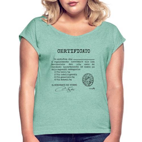 1.07 Certificato Piu Adulti (Aggiungi nome) - Maglietta da donna con risvolti