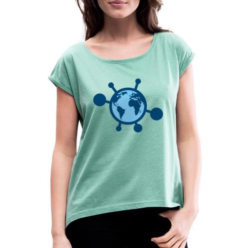 Mundo Covid-19 - Camiseta con manga enrollada mujer